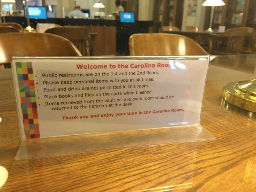 Carolina Room rules