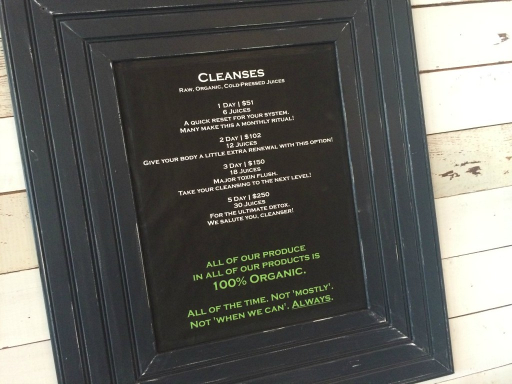 Clean Juice cleanse menu
