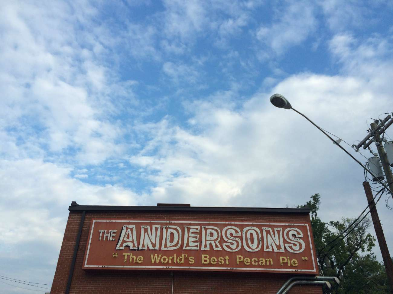 "The story behind the Anderson's ""World's Best Pecan Pie"" sign on Elizabeth Avenue"