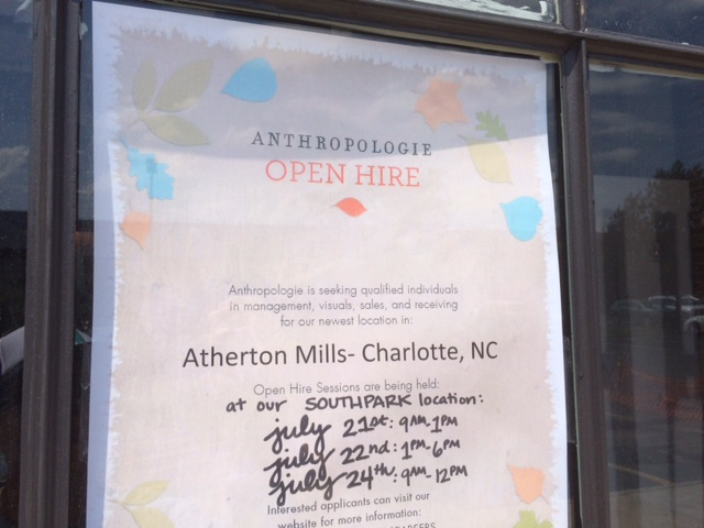 anthropologie jobs charlotte