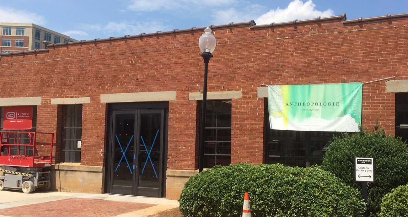 Anthropologie opening soon next to Luna's in South End. Photo updates and jobs