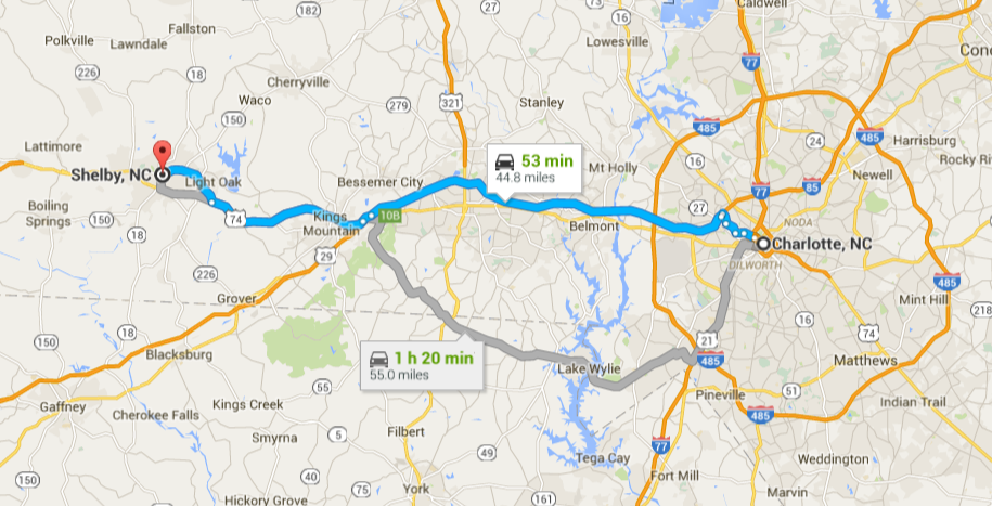 Charlotte to Shelby NC