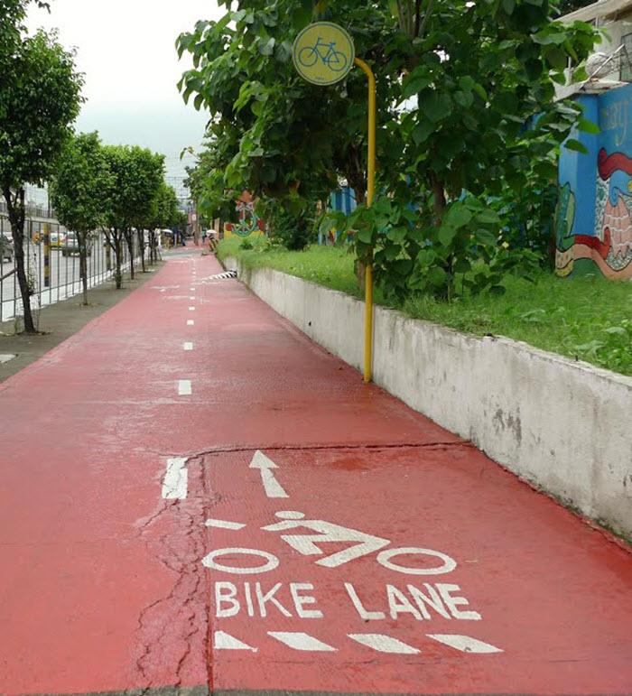 pink bike lane