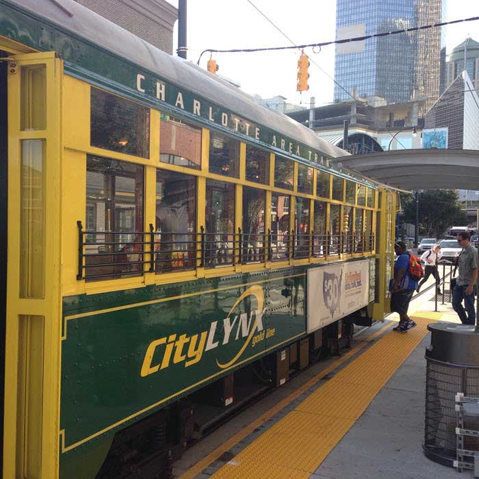 Boarding the Charlotte streetcar