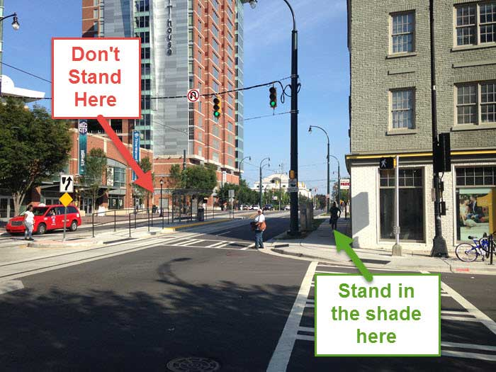 charlotte streetcar where to stand