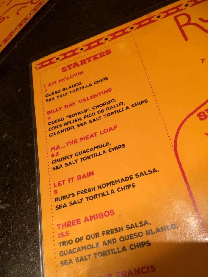 RuRu's menu