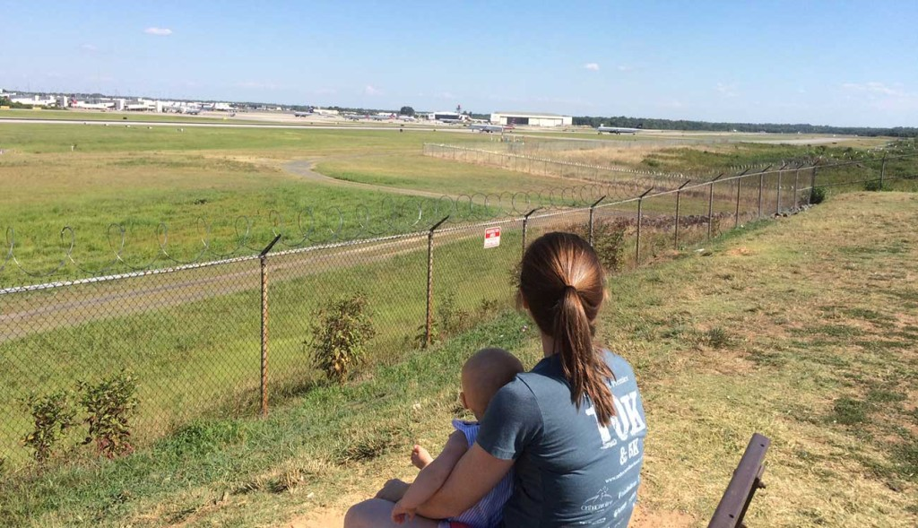 Taking a baby to the Charlotte Airport Overlook