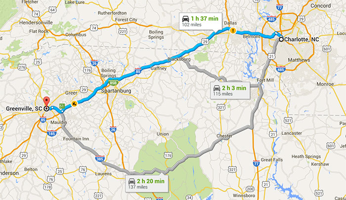 charlotte-nc-to-greenville-sc-map
