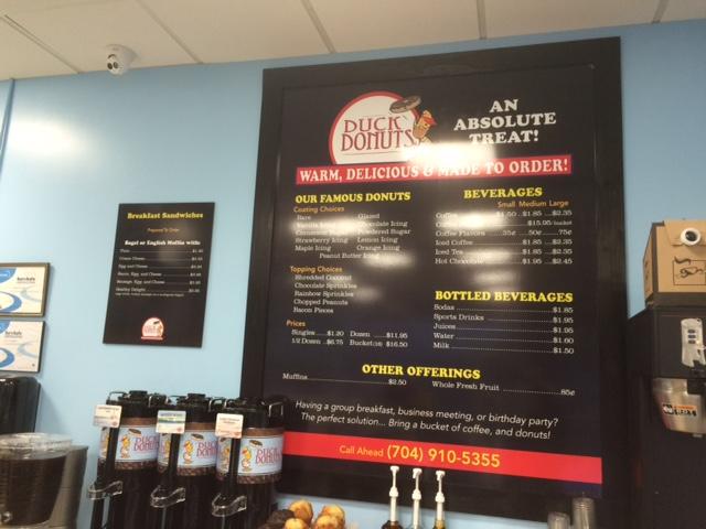 duck donuts charlotte menu board