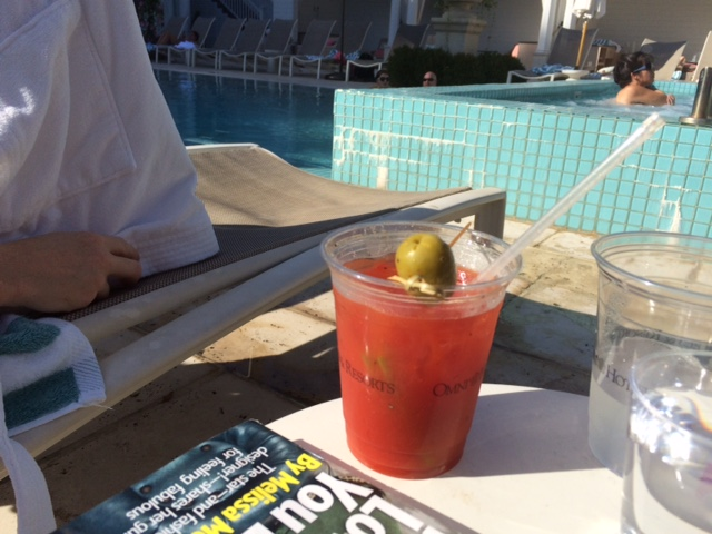 bloody mary by the spa pools at homestead resort