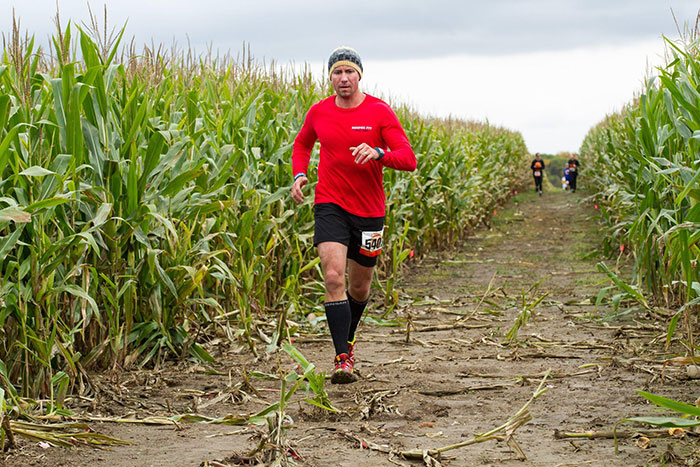 running through corn maze