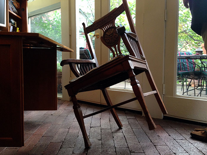 chair on two legs