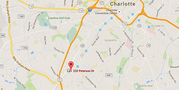 location-of-doc-porter's-charlotte-nc-map