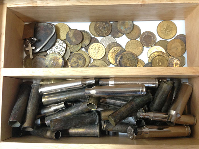 shotgun shells and coins