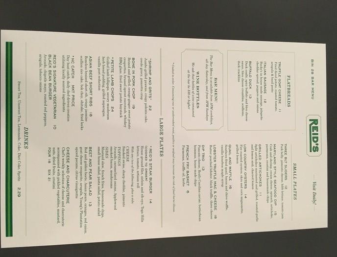 reid's food menu