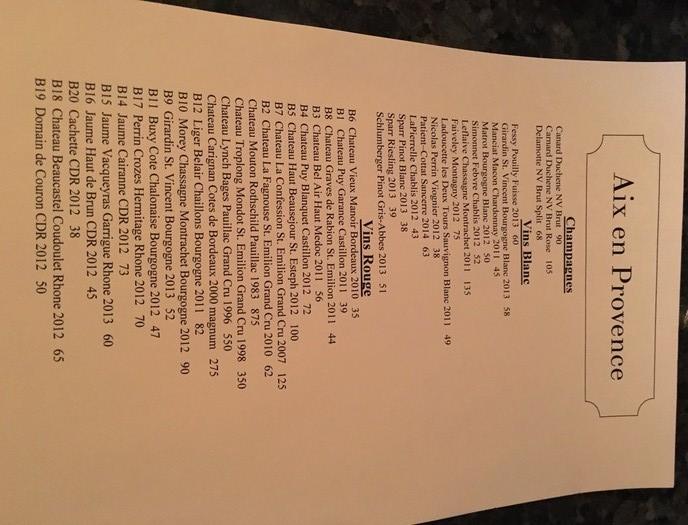 wine list aix en provence