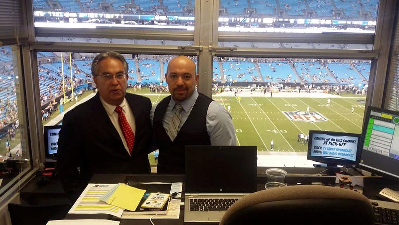 Panthers Spanish-language radio broadcast team enjoying the ride
