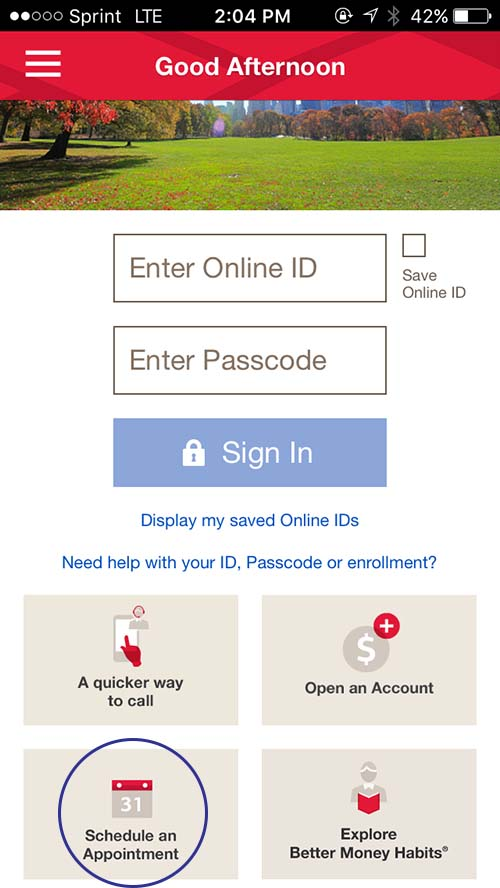 Bank of America app mobile - appointments