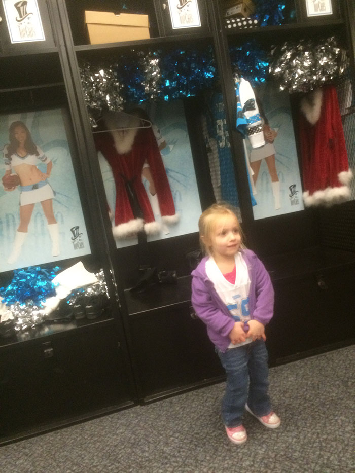 Little girl in Top Cat's locker room