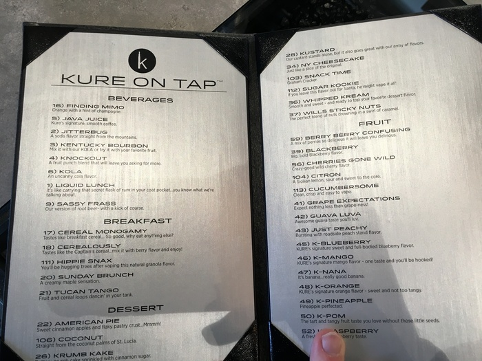 kure on tap juice menu