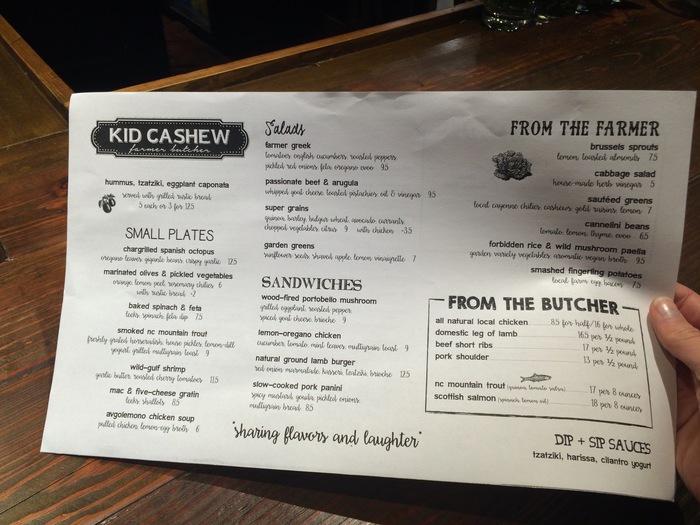 kid cashew menu