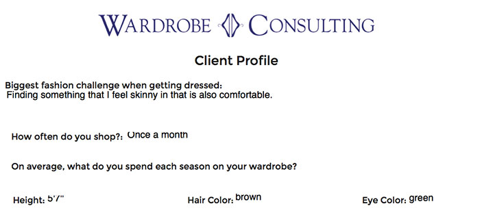 Wardrobe Consulting client profile