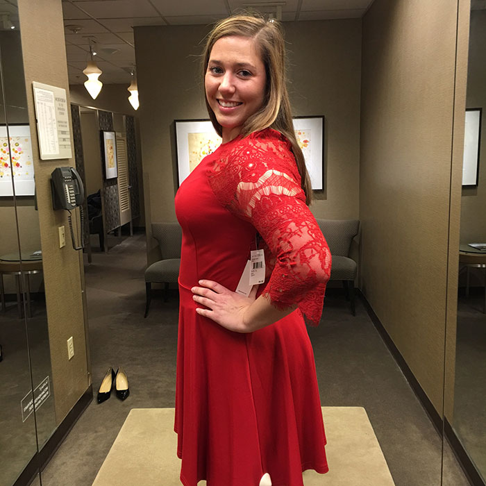 Mary Gross red lace dress