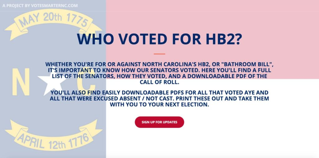 Want to know who voted for HB2? This site has you covered