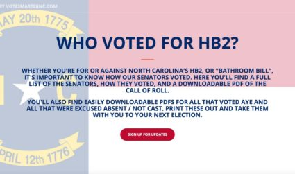 Want to know who voted for HB2? This site has you...