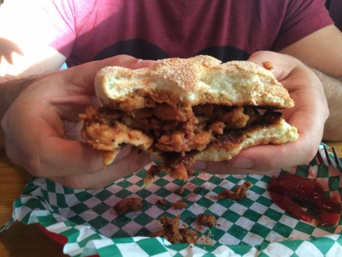 Vegan pulled BBQ sandwich