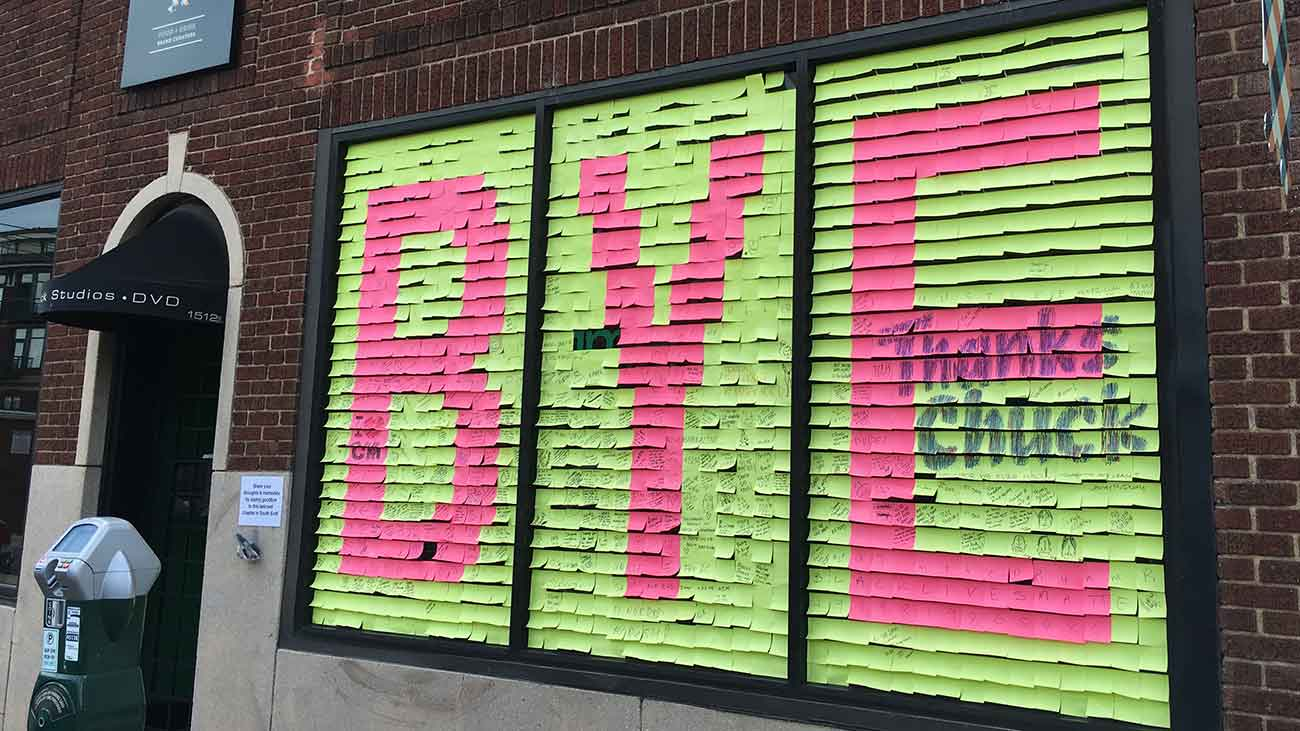 Take a look at this beautiful Common Market tribute made of post-it notes
