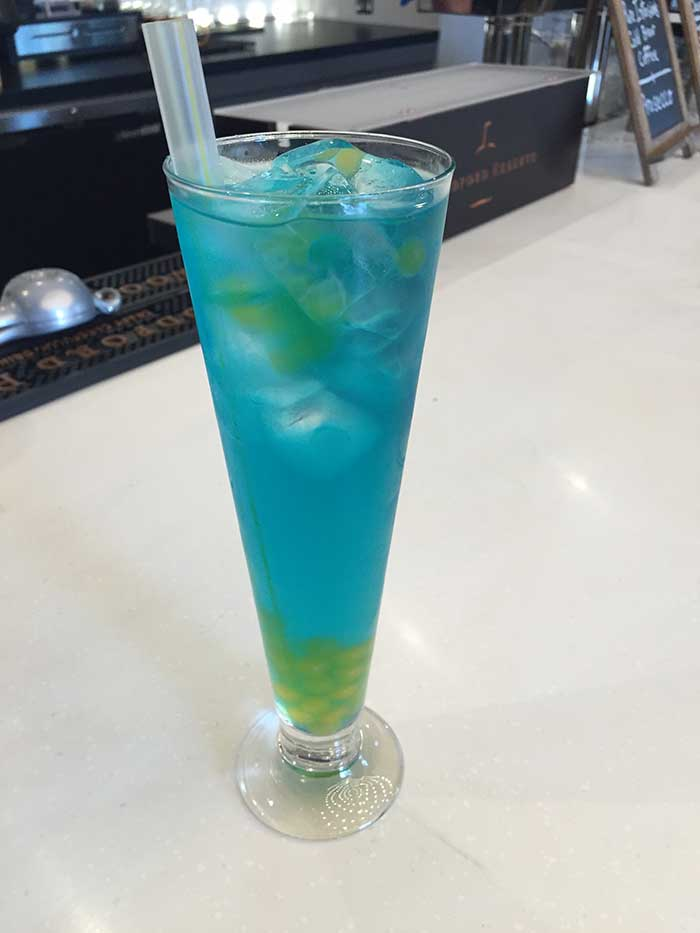 Berry Blue Balls boba cocktail ($11ish)