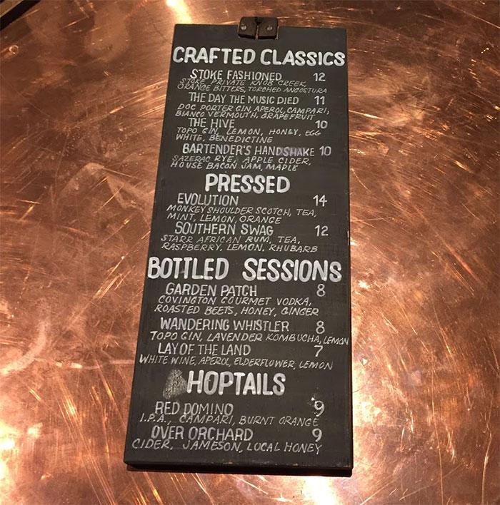 Stoke-bar-menu