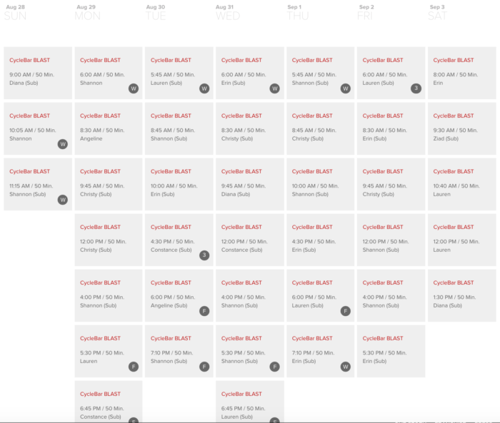 cyclebar schedule