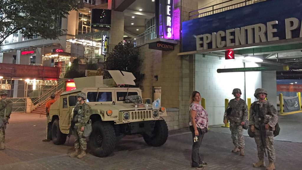 Protests remained peaceful as the National Guard moved into Charlotte