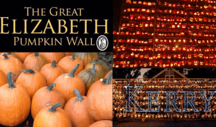 Elizabeth neighbors made a pumpkin wall that's 60 feet long