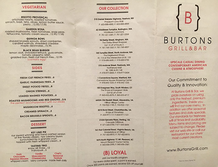 Burtons Grill opens November 1. View menu and look inside ...