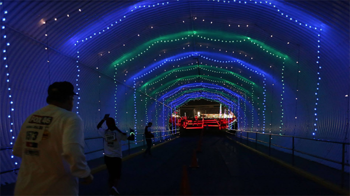 run through more than 3 million christmas lights at charlotte motor speedways egg nog jog 5k on november 19