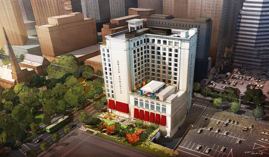View renderings: Grand Bohemian Hotel plans to open in early 2020 with rooftop bar on the 16th floor