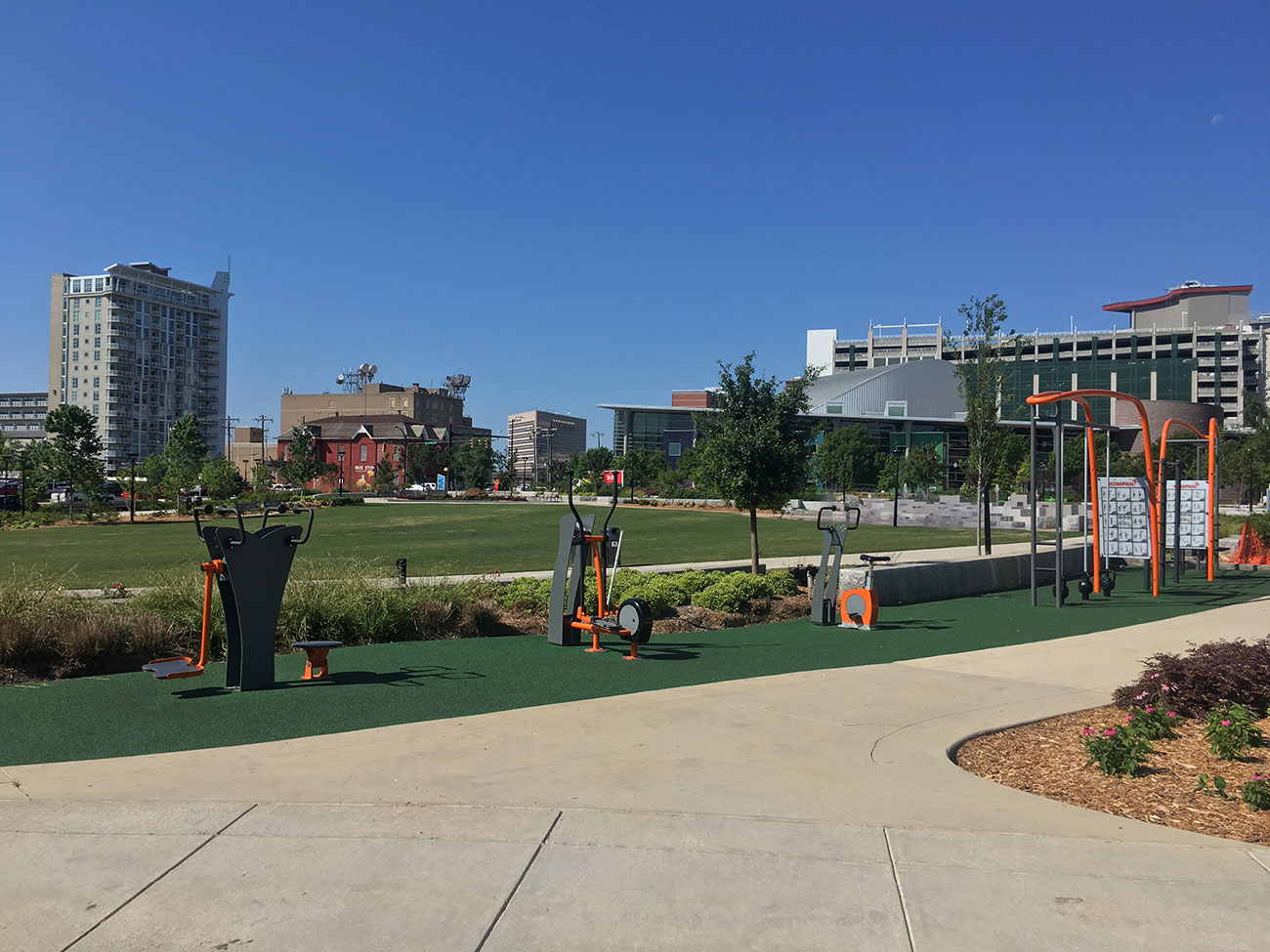 Can you actually get a good workout using First Ward Park's exercise equipment?