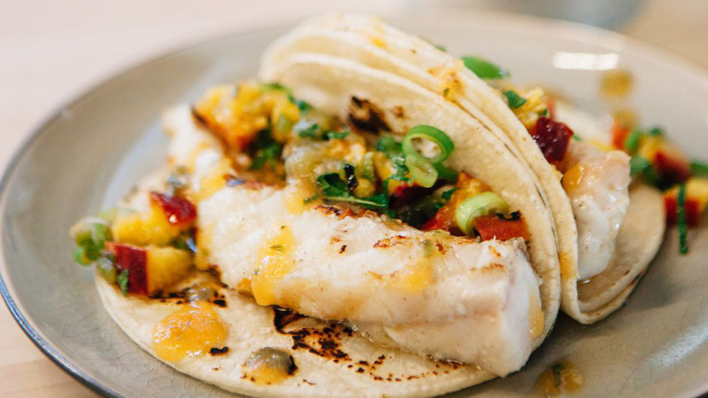 CLT + summer + beer. Try Chef Alyssa's easy Fish Tacos with Catawba CLT IPA and Grilled Peaches