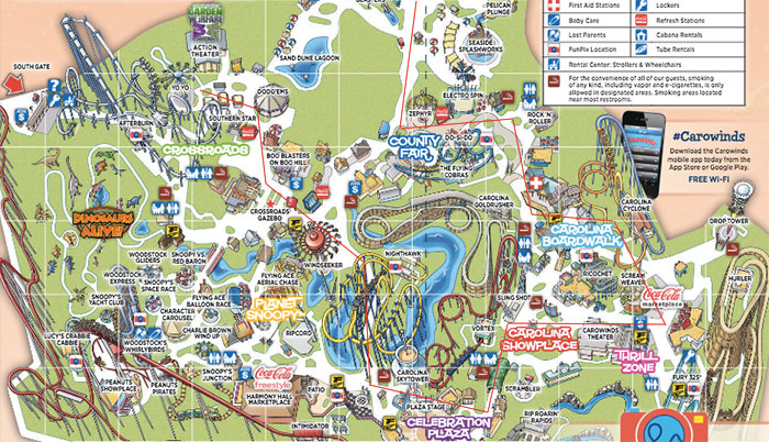 I rode 26 rides in 12 hours and spent $70 total at Carowinds. Here's Carowinds Map on