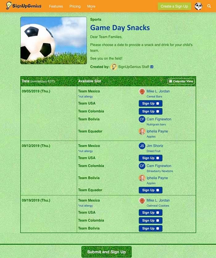 soccer snack sign up