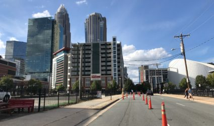 A temporary protected bike lane is open this week in Uptown