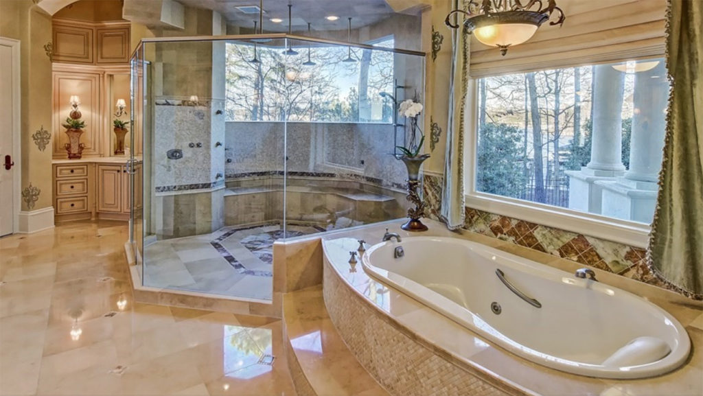 Need a home with a massive shower? View bedroom-sized showers in these two multi-million dollar listings