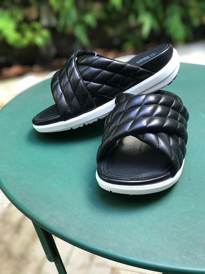 Fit Flop Leather Criss-Cross Slides