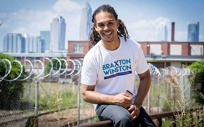 Democrat incumbent Braxton Winston is running for a City Council at-large seat