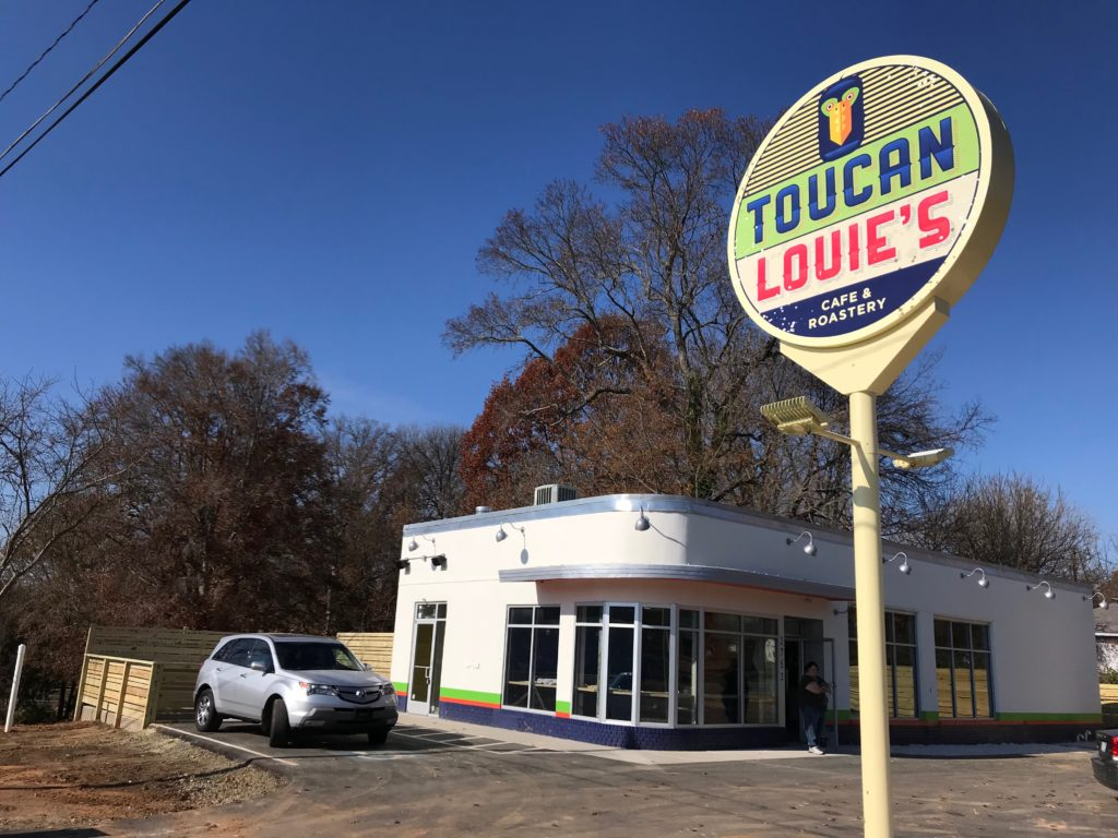 Toucan Louie's, a cafe and micro-roastery in an old gas station, is targeting a mid-December opening on Rozzelle's Ferry Road