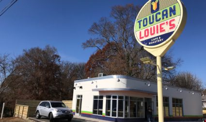 Toucan Louie's, a cafe and micro-roastery in an old gas station,...