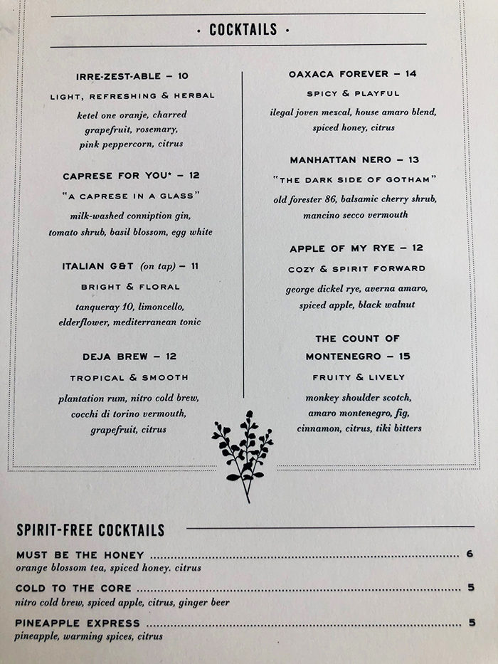 cocktail menu at indaco south end